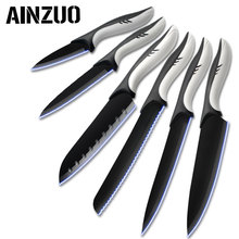 AINZUO 3cr13 Stainless Steel Kitchen Knives Chef Cutlery Paring Utility Santoku Slicing Bread Handmade Accessories