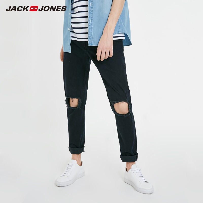JackJones Men's Slim Fit Stretch Cotton Ripped Tight-leg Jeans|Streetwear 219132592
