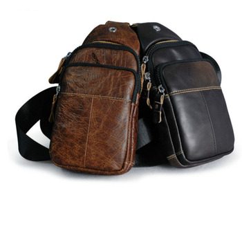 Fashion Men Chest Bags Backpack Sling Cross Body Man Leather Satchel Travel Bag Men's Head Layer Cowhide Casual Small Bag men first layer cowhide genuine leather sling chest bag large capacity cross body pack daypack vintage travel school hiking
