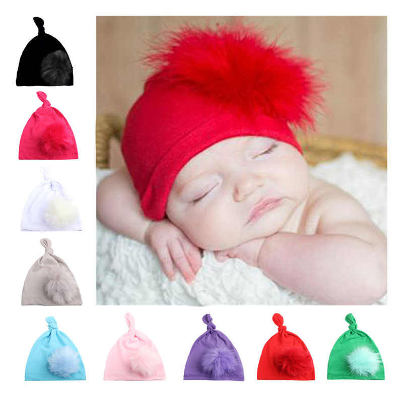 Free shipping 2018 new European and American children's fashion wool ball cap knotted pointed hat simple boy girl baby hat hair