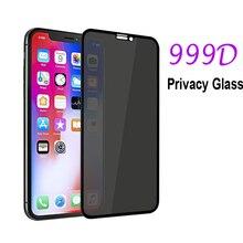 واقي شاشة ضد التجسس طراز 999D لهاتف آيفون 12 mini 11 Pro XS Max XR زجاج مقسى لهاتف آيفون 7 8 6 6S Plus SE 2020