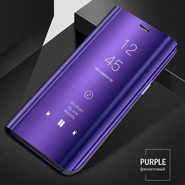 Смарт mi rror флип чехол для Xiao mi Red mi Note 8 7 K20 5 6 Pro 4X5 Plus 5A 8A 7A S2 кожаный чехол для mi 9 9T Pro 8 SE A1 A2 чехол - Цвет: Purple