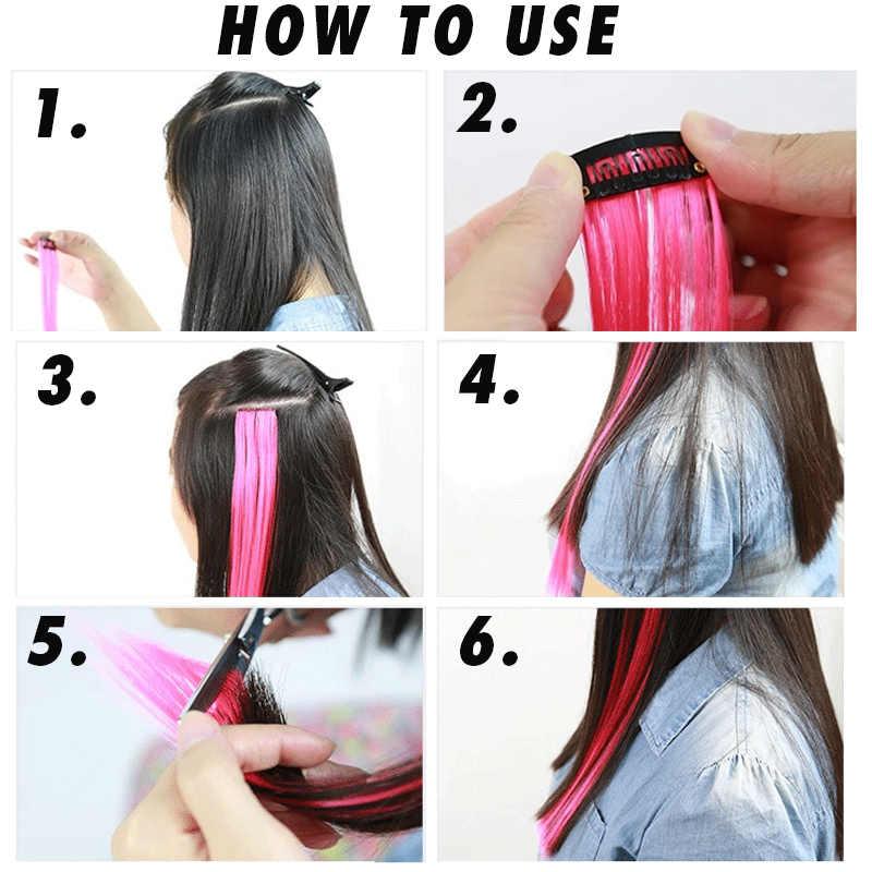MANWEI20 inç düz isıya dayanıklı saç ekleme klip vurgulamak gökkuşağı saç Streak sentetik saç tellerinin postiş