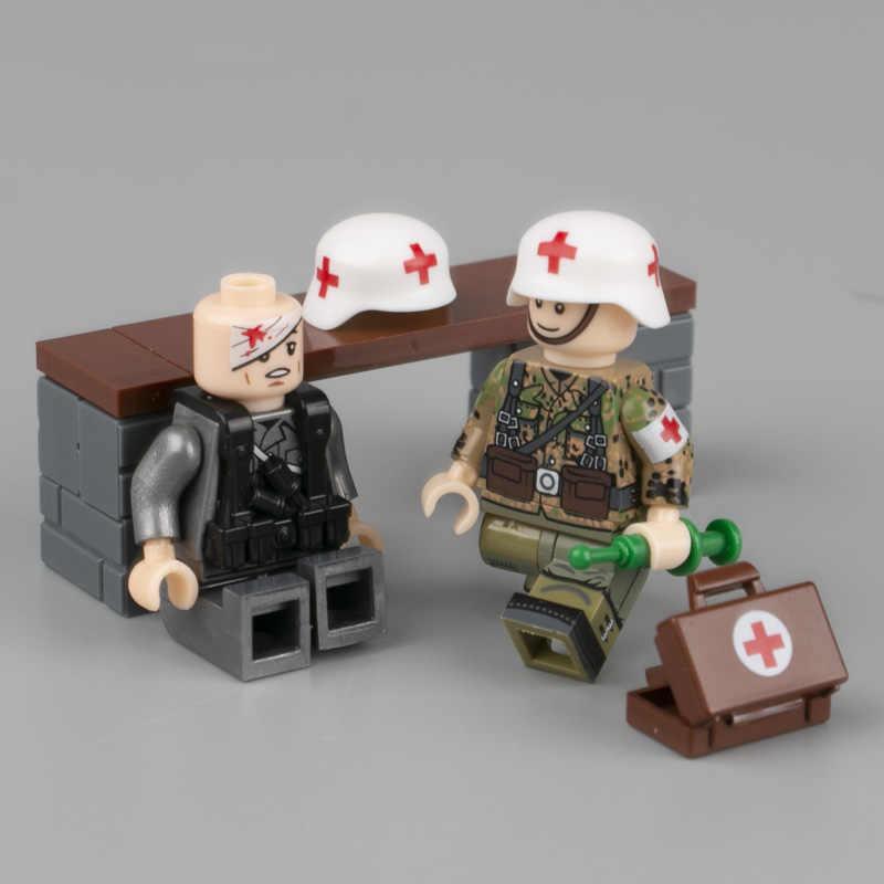WW2 軍事武器アクセサリービルディングブロックドイツヘルメット医療ハンドバッグブロック市兵士部品ブロックおもちゃ