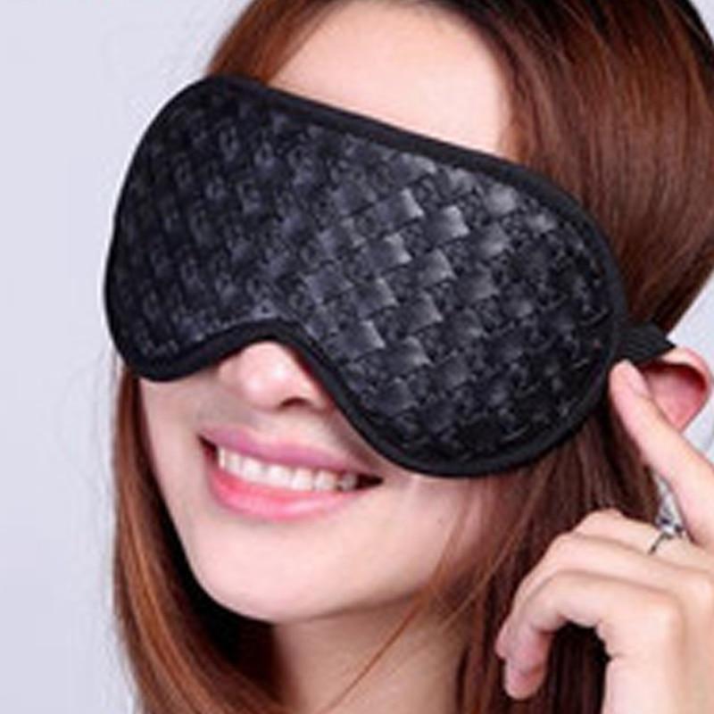 Black Tourmaline Eye Massager Natural Ceramic Germanium Gemstone Therapy Sleep Eye Mask Shade with Negative Ion