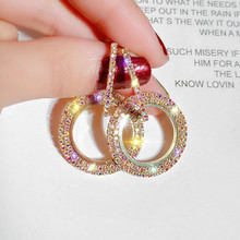 FYUAN Fashion Korean Style Circle Hoop Earrings Luxury Gold Silver Color Round Rhinestone Women Party Jewelry Gift
