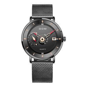 Image 5 - DOM Herren Uhren Zu Luxus Marke Männer Stahl Sport Uhren herren Quarz Schwarz Uhr Wasserdicht Militär Uhr Uhr M 1299BK 1M