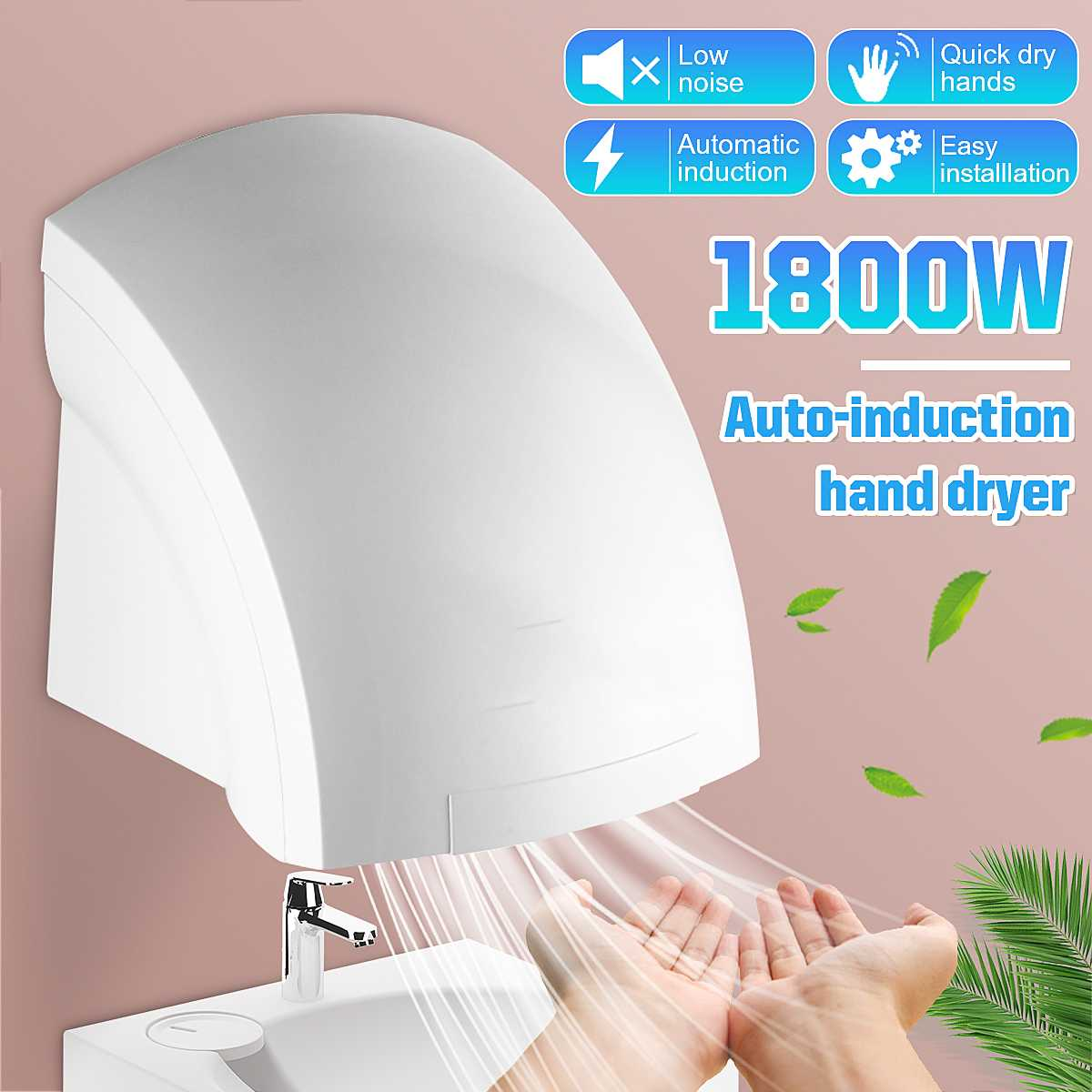1800W 220V High Power Quick-drying Hotel Automatic Infared Sensor Hand Dryer Household Bathroom Hands Drying Device