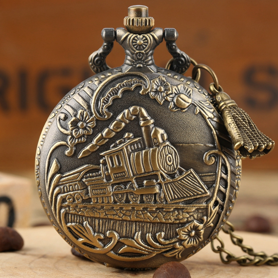 Bronze Train Front Locomotive Engine Necklace Quartz Pocket Watch Chain Flower Superb Sculpture Retro Pendant + Tassel Accessory