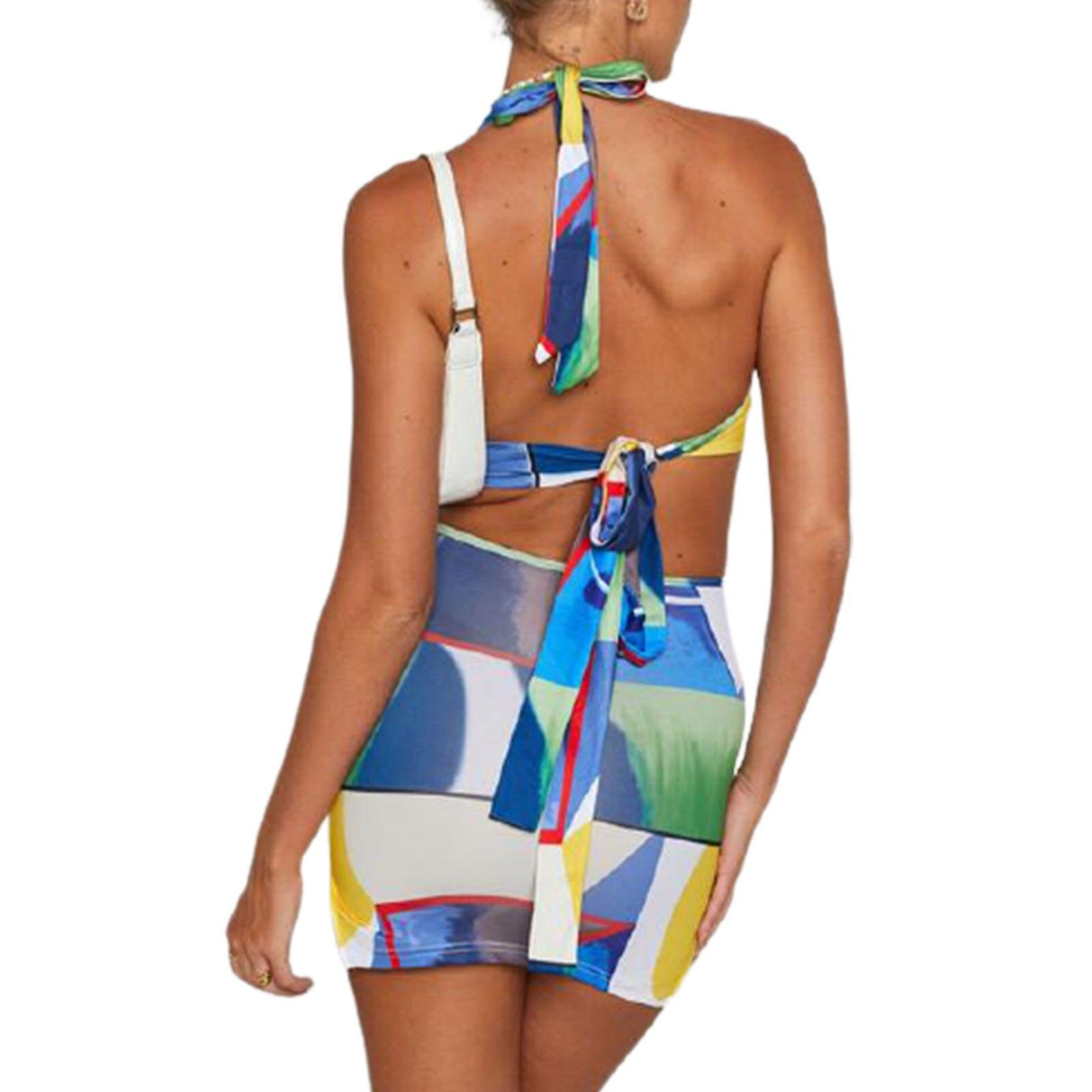 Geometric Pattern Halter Dress Sets Sexy Women Sleeveless Cutout Front Sundress Party Club Backless Tie Up Short Sheath Dress 5