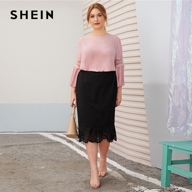 SHEIN Plus Size Pink Keyhole Back Lace Insert Pleated Sleeve Top Women Autumn Round Neck Solid Elegant Office Lady Plus Blouses 4