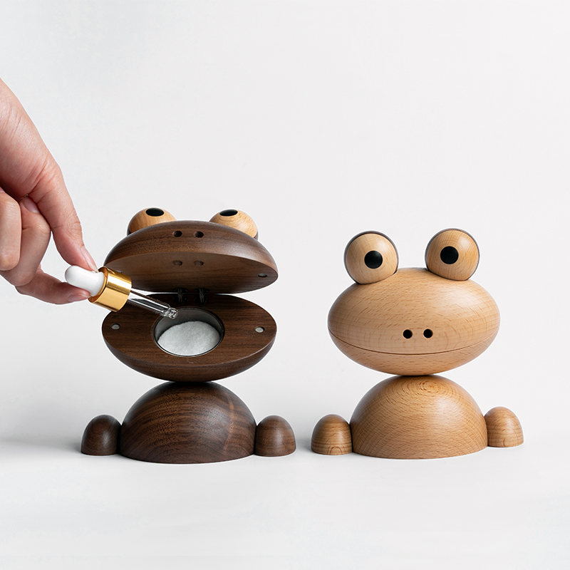 Figurines d'animaux en bois naturel aromathérapie grenouille | Design Original et moderne, cadeaux de mariage de luxe, accessoires pour décor de maison en bois