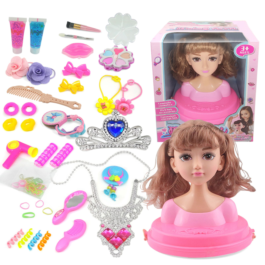Children Doll Deluxe Styling Head Makeup Hairstyle Play Toy - Big Wave, Double Ponytail + Air Bangs /Straight Hair + Neat Bangs