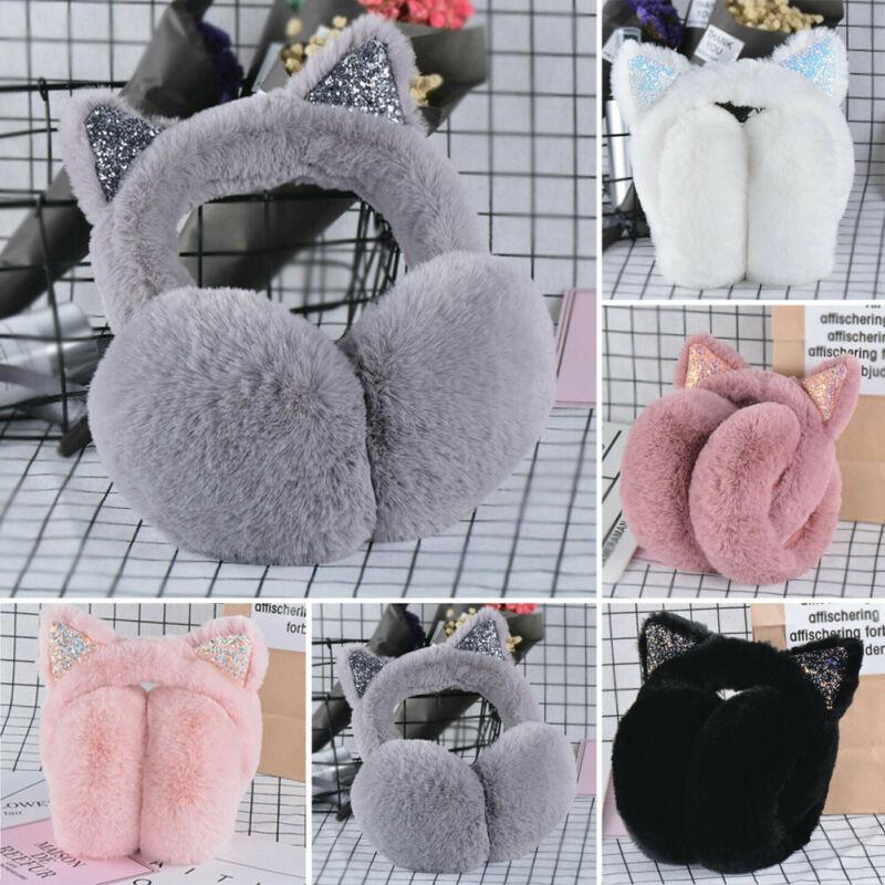Women Earmuffs Cat Fluffy Ear Warmer Outdoor Protect Cute Soft Earcap Girls Winter Plush Faux Fur Ear Pad Fashion Headband
