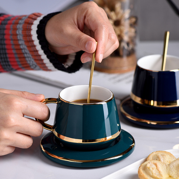 European Luxury Green Mug Ceramic Tea Cups and Saucers Coffee Cup Set with Lid Spoon  Mug Milk Tea Coffee Drinkware