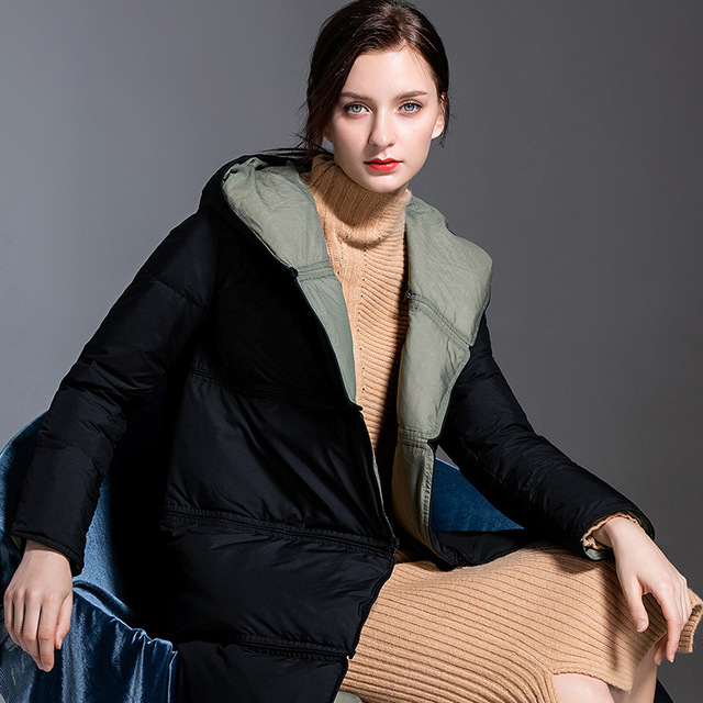 Europe winter Splicing and multi-wearing hooded 95% duck   down     coat   female oversize X-Long thicker warm duck   down   jacket F136