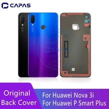 Originele Huawei P Smart + Terug Behuizing Glas + Camera Glas Huawei Nova 3i Rear Batterij Cover 3 M tape Vervangende Onderdelen