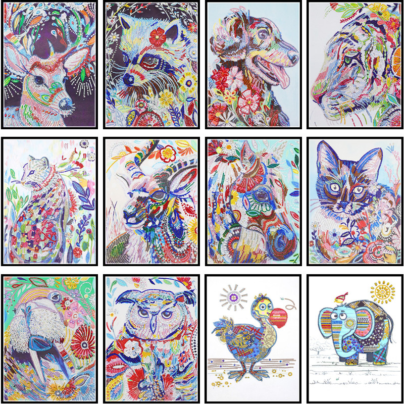 5D Diamond Painting Special Shaped Diamond DIY Part Embroidered Cross Stitch Kit Crystal Rhinestone Art Oil Painting Animal