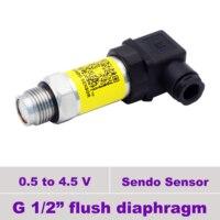 flush pressure sensor transducer, 0 250, 400 bar high pressure, 0.1, 0.35 bar low, 1, 4, 6, 10, 100, 160 bar, 0.5 4.5 v + g 1 2