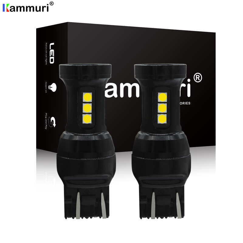 KAMMURI 2pcs <font><b>T20</b></font> 7440 W21W 7441 7443 7444 W21/5W <font><b>LED</b></font> Bulbs for LADA Dimension Lights Bulbs Super Bright White Amber <font><b>red</b></font> DC12-24V image