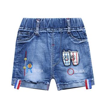 Modne dziecięce spodenki jeansowe dziecięce letnie ubrania miękki elastyczny Cartoon haftowane dziecięce krótkie spodnie jeansowe 1-4 rok tanie i dobre opinie Diikamiiok Chłopcy COTTON spandex CN (pochodzenie) Lato Dobrze pasuje do rozmiaru wybierz swój normalny rozmiar KC-S27