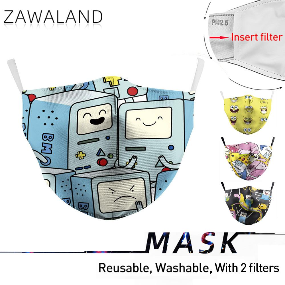 Zawaland Fashion Adult Cute Adventure Time Print Mouth Mask Anti Dust Proof Haze Protective PM2.5 Washable Masks With Filters