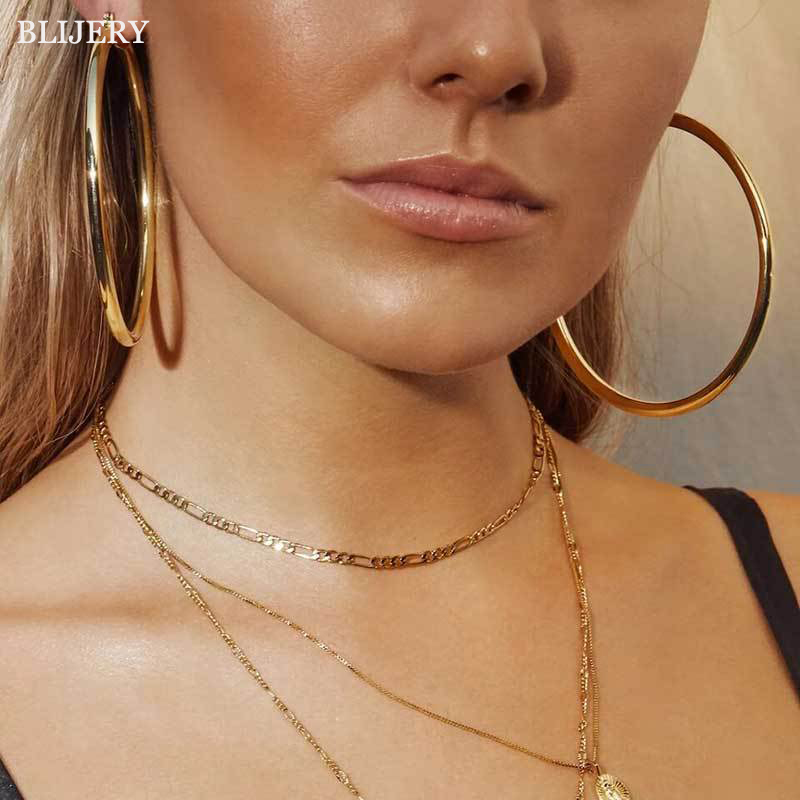 BLIJERY Trendy Exaggerated 5-10cm Thick Hoop Earrings Smooth Big Circle Earrings for Women Punk Jewelry Femme Boucles d'oreilles