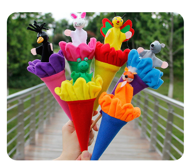 6Pcs/Set Retractable Smiling Clown Toy Doll Funny Telescopic Hide-and-Seek Plush Doll Toy Cone Toy Children Educational Toy 6