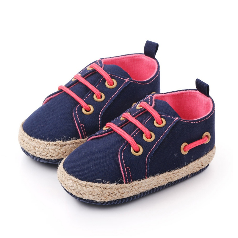 Autumn Newborn Baby Boys Girls Cotton Shoes 3 Colors Casual Solid Color Anti-Slip Lace Up Comfortable Soft Soled Sneakers
