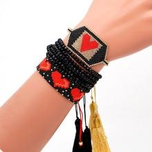 Go2boho MIYUKI Bracelet For Women Pulseras Mujer Moda 2019 Bohemian Red Heart Tassel Bracelet Crystal Jewelry Handmade Design