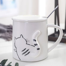 New Creative Cartoon 3D Cat Ceramic Mugs Cute Large Capacity Cups Coffee Tea Milk Drinkware Mug for Friend Couples Famaly Gift(China)