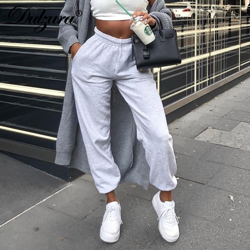 Dulzura Cotton Women Thick Cargo Pants Jogger Sweatpants Loose Streetwear 2019 Autumn Winter Clothes Activewear Bottoms Trousers