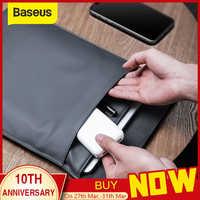 Baseus saco de luva do portátil caso para macbook ar pro 13 14 15 16 super fino dupla camada computador forro saco caso para dell lenovo