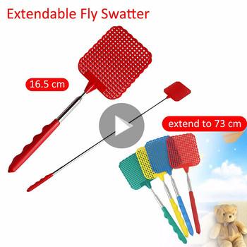 Dropshipping plastikowe teleskopowe wysuwane muchowe Swatter zapobiegają szkodnikom narzędzie do komarów plastikowe produkty do zwalczania szkodników kolor losowo tanie i dobre opinie Prostokątne YP80573 Color Random Stainless steel + plastic 28cm x 11 5cm x 8 5cm 11 73 5cm 28 9