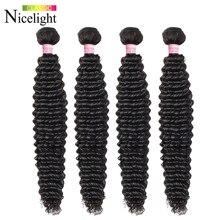 Волосы Nicelight, малазийские кудрявые волосы, пучки 8 26 дюймов, человеческие волосы без повреждения кутикулы, пряди чки натуральных волос, 3/4 пучков, сделки, наращивание