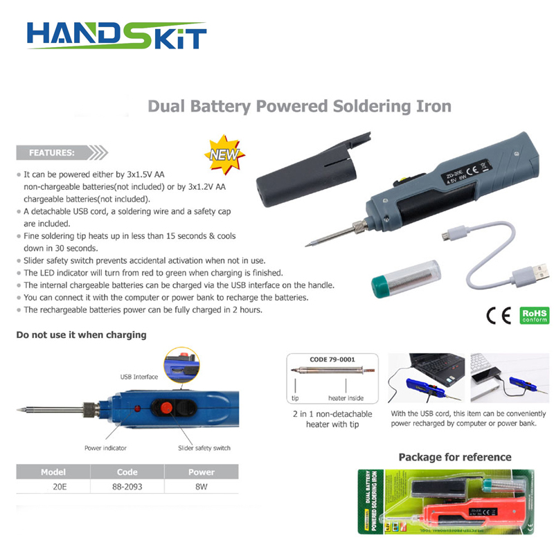 Handsit Soldering Iron 8W Dual Battery Powered Electric Solder Iron Rework Station Mini Handle Heat Pencil Welding Repair Tools in Electric Soldering Irons from Tools
