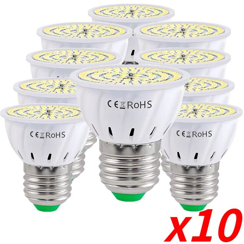 10PCS GU10 LED E27 Lamp E14 Spotlight Bulb 48 60 80leds lampara 220V GU 10 bombillas led MR16 gu5.3 Lampada Spot light B22 7W 9W