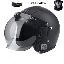 2019 Style black leather PU  Helmet DOT Motorcycle helmet open face motobike VOSS-052 for adults