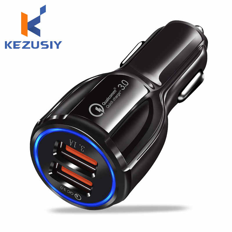 Kezusiy Mobil USB Charger Pengisian Cepat 3.0 2.0 Mobile Phone Charger 2 Port USB Cepat Charger untuk Iphone Samsung Tablet mobil Charger