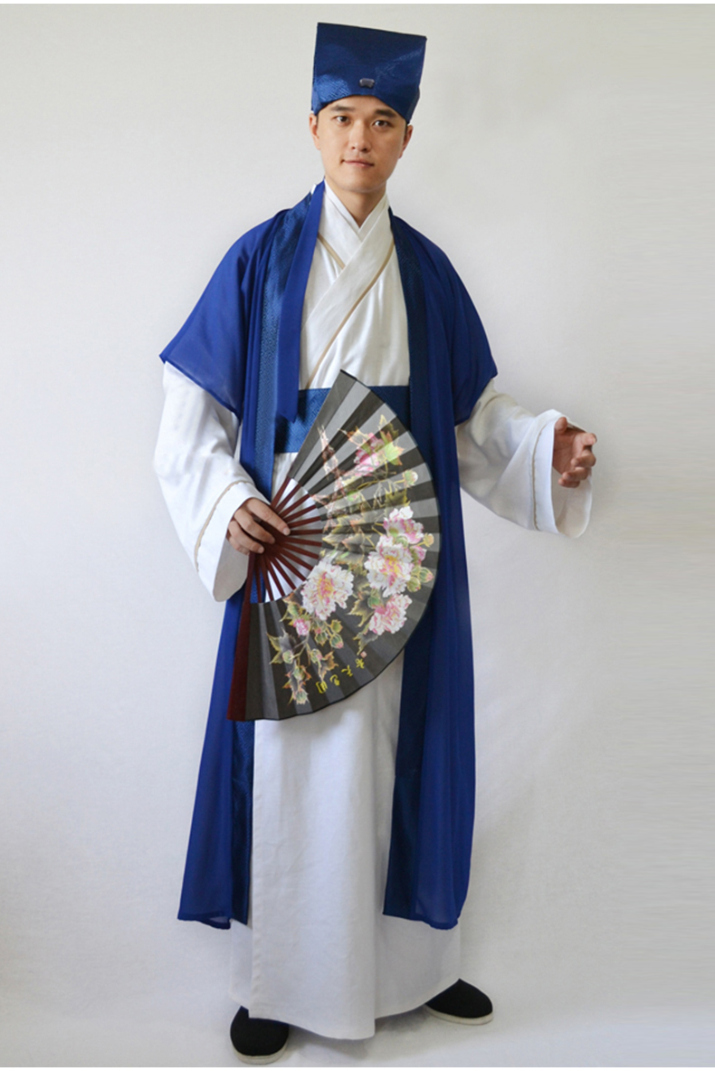 Male Tang Dynasty Hanfu Robe Chinese National Ancient Suit Dance Costume Traditional Scholar Long Robe Performance Outfit