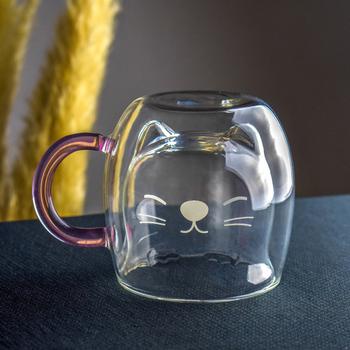 Kubek szklanki z podwójnym dnem kreatywny filiżanka na kawę odporny Kungfu kubek do herbaty mleko kubek do soku Drinkware prezent na walentynki tanie i dobre opinie BigNoseDeer CN (pochodzenie) Szkło kubki do kawy W stylu japońskim Bez elementów Mugs Na stanie Ekologiczne