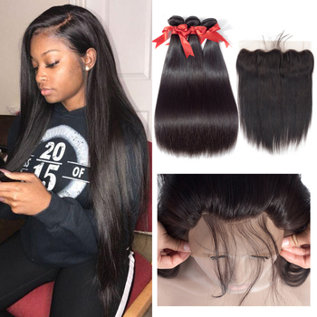 Beaudiva Brazilian Straight Hair Bundles With Frontal Brown Lace Closure Human Hair Frontal With Bundles