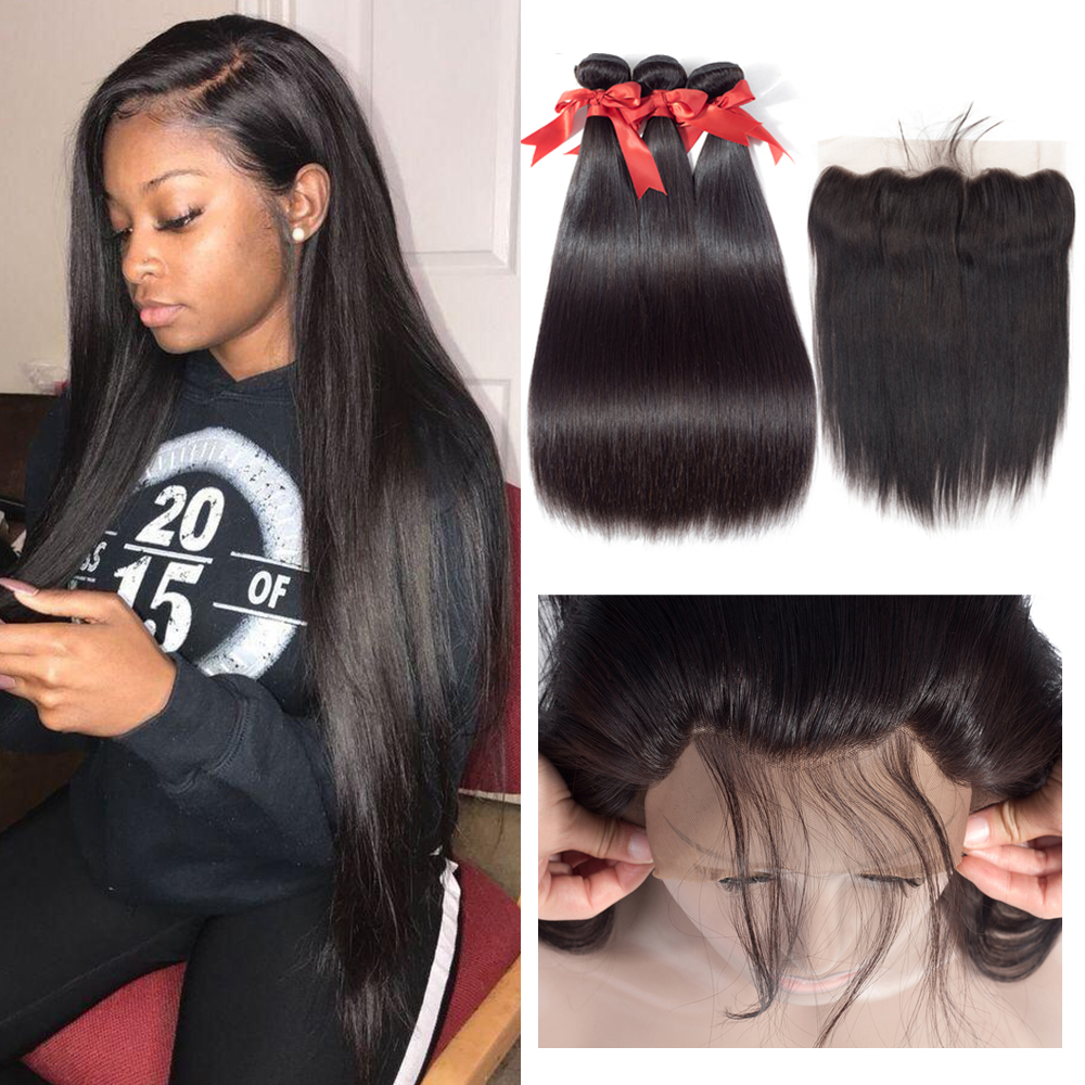 Beaudiva Brazilian Straight Hair Bundles With Frontal Brown & Transparent Lace Closure Human Hair Frontal With Bundles