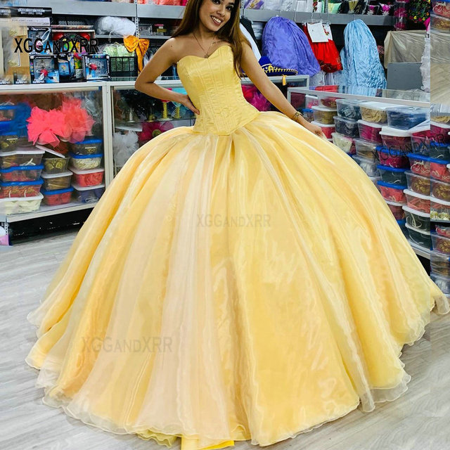 2021 Sexy Sweetheart Yellow Ball Gown Quinceanera Dresses For Girls Elegant Organza Lace-Up Prom Party Gown Vestidos De 15 Años