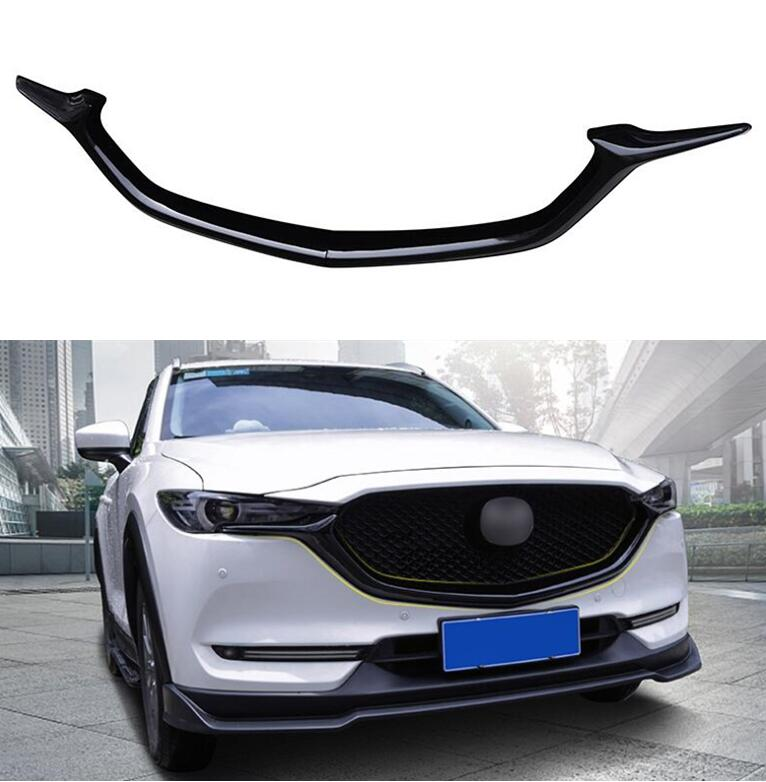 ABS Black Car Front <font><b>Bumper</b></font> Mesh Grille Grills Strip Trims Cover <font><b>For</b></font> <font><b>Mazda</b></font> <font><b>CX</b></font>-<font><b>5</b></font> CX5 2017 2018 <font><b>2019</b></font> 2020 Year image