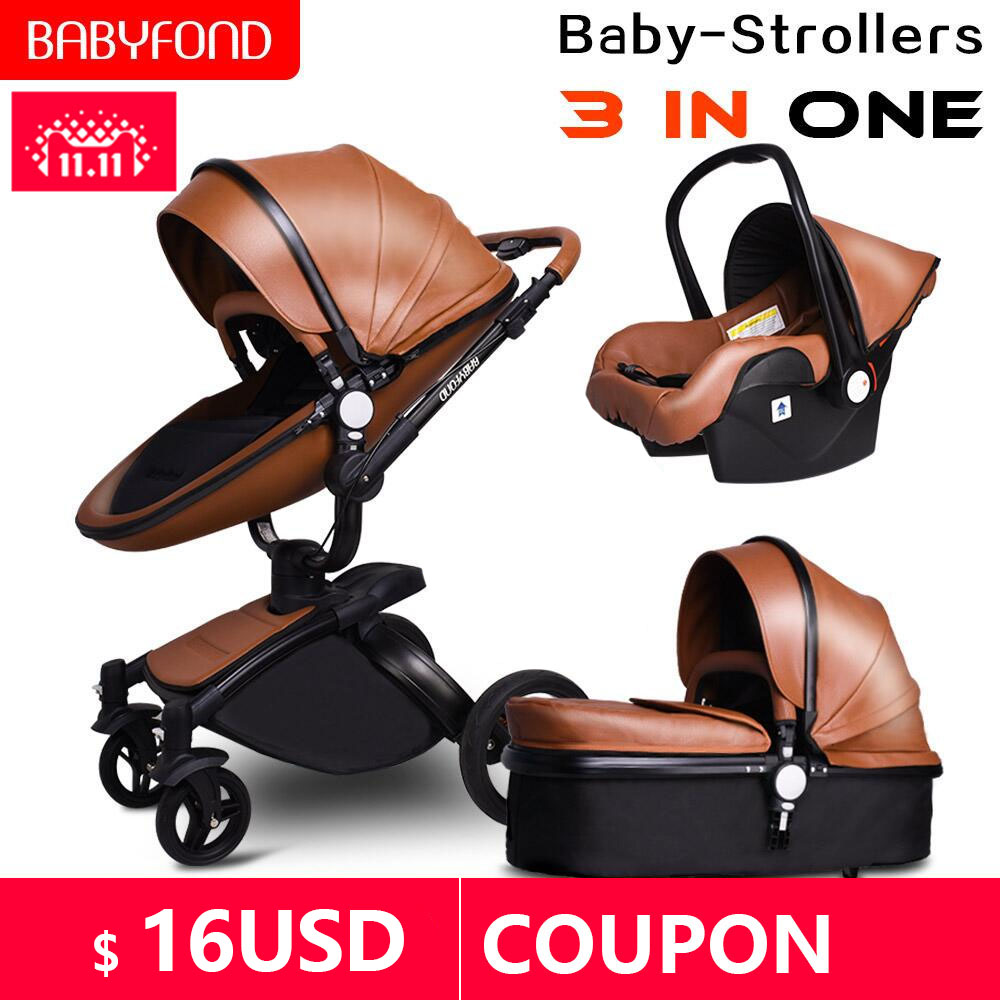 Babyfond High landscape stroller Leather stroller luxury <font><b>baby</b></font> stroller <font><b>3</b></font> <font><b>in</b></font> <font><b>1</b></font> Folding kinderwagen <font><b>baby</b></font> <font><b>pram</b></font> send free gifts image