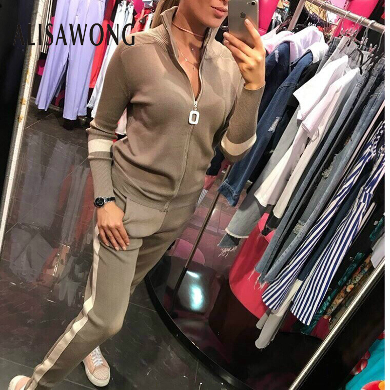 New 2020 Woman Tracksuits Fashion Spring Autumn Zipper Sweater Tops + Slim Long Pant Suits Outfit Women Two Piece Set Sportsuit