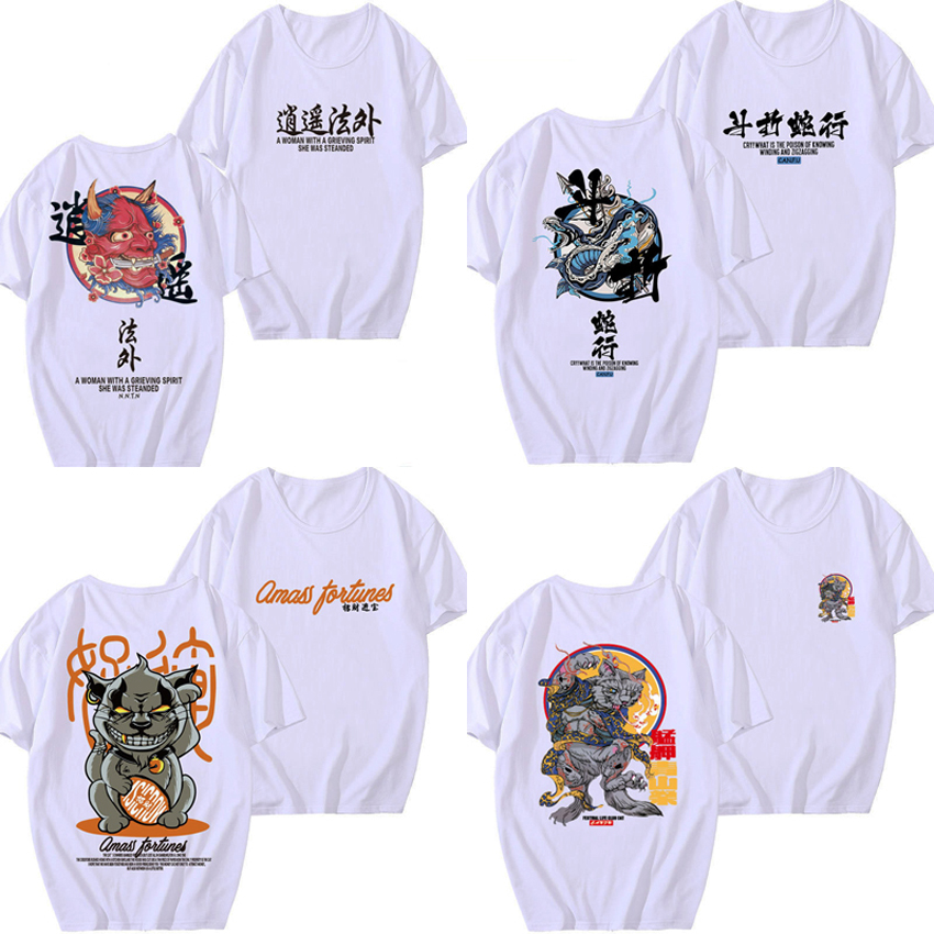 Half Sleeve Loose Man Japanese Harajuku T-shirt Hip Hop Street Wear Ukiyo Monster Gothic Cotton National Clothing For Woman