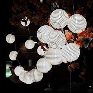 Image 3 - Solar Waterproof Nylon Round Chinese Paper Lanterns Birthday Wedding Decor Gift Craft DIY Lampion Hanging Ball Party Supplies