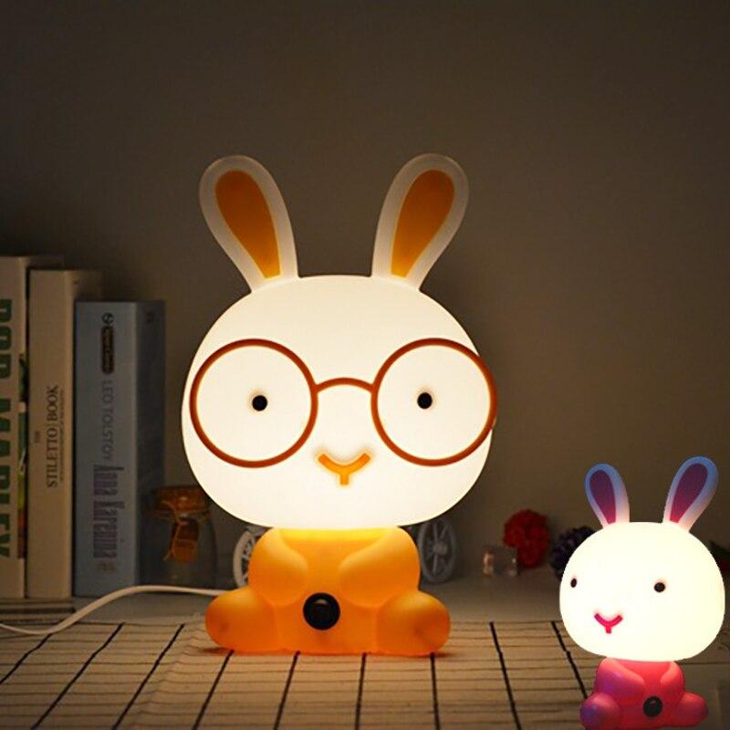 EU US Plug LED Glasses rabbit night light Cartoon animal children toys table lamp Sleep Kid bedroom decor gift for Baby in Night Lights from Lights Lighting
